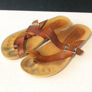 Yokono Brown Leather Sandals Womens Size 9